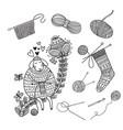 set knitting tools yarn and cute sheep vector image vector image