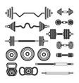 set of gym equipment - modern monochrome vector image