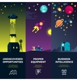 Space banners with flat astronomic ufo vector image