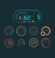 speedometer neon set car speed indicator colored vector image vector image