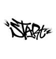 Sprayed start font graffiti with overspray in