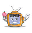 tv character cartoon object with ice cream vector image vector image