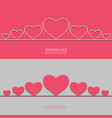 valentines card with line hearts for your design vector image vector image