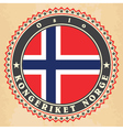 Vintage label cards of Norway flag vector image vector image