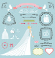 wedding bridal shower decor setbrideswirlsicons vector image vector image