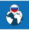 world map with pointer flag russian vector image vector image