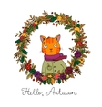 Wreath of autumn leaves cute cartoon cat vector image