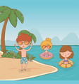 young kids on beach scene vector image