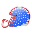 blue american football helmet with stars side view vector image
