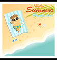 Little boy say hello to summer happy time vector image