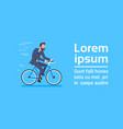 business man in suit ride bicycle over template vector image