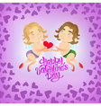 Greeting card Happy Valentine Day with holding vector image