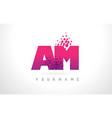 am a m letter logo with pink purple color