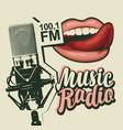 banner for music radio with microphone and lips vector image vector image