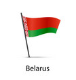 belarus flag on pole infographic element on white vector image vector image