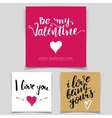 Brush calligraphy love cards set vector image
