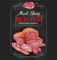 butcher shop blackboard with meat and sausage vector image vector image