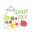 candy shop logo colorful hand drawn label vector image vector image