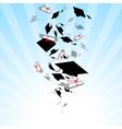 caps graduates whirlwind in sky vector image vector image