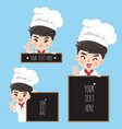 chef holds a signage vector image vector image