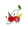 cherry characters making selfie at birthday party vector image vector image