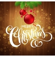 Christmas decoration on wooden background vector image vector image