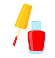 colorful cartoon open red nail polish vector image vector image