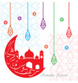 colorful ramadan kareem greeting with mosque and vector image