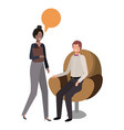 couple business with speech bubble vector image vector image