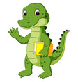 cute crocodile carrying book vector image vector image