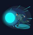 death a man runs in a tunnel light vector image