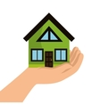 eco house with hand icon vector image