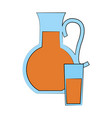 fruit juice jug and glass icon image vector image vector image