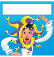 Funny Jocker smiling with white frame vector image vector image