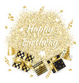 gold gift boxes and confetti on black background vector image