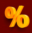 golden percent sign on red background vector image vector image