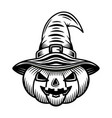 halloween pumpkin in witch hat black object vector image vector image