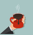 hand hold mug of hot chocolate vector image