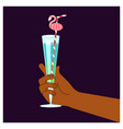 hand holding a glass vector image