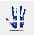 Handprint with the Quebec flag in grunge style vector image vector image