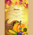 happy thanksgiving menu realistic pumpkin vector image