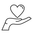 heart hand icon outline style vector image