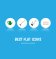 icon flat farm set of fence lawn mower watering vector image