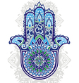 Indian hand drawn hamsa with ethnic ornamen vector image vector image