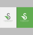 initial letter s combine with green leaf shape vector image vector image