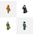 Isometric people set of officer lady investor vector image
