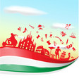 italian symbol on flag with sky background vector image