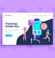 landing page template training made fun concept vector image vector image