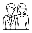 line professional woman and man partner with vector image vector image