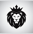 lion king with crown logo vector image